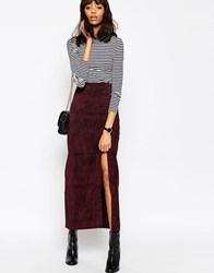 Asos Maxi Skirt With Thigh Split In Suede Red