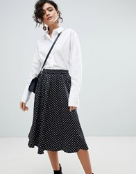 Selected Polka Dot Midi Skirt Black