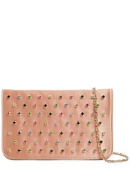 Red Valentino Multicolor Crystals Satin Clutch Pink