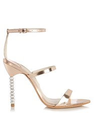 Sophia Webster Rosalind Crystal Heel Leather Sandals Gold