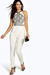 Boohoo Lace Print Cut Away Shoulder Jumpsuit Ivory