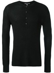 John Varvatos Half Button Sweater Black