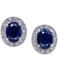 Macy's Sapphire 3 Ct. T.W. And Diamond 1 5 Ct. T.W. Stud Earrings In 14K White Gold Blue