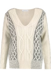 10 Crosby By Derek Lam Cable Knit Cotton Blend Sweater White