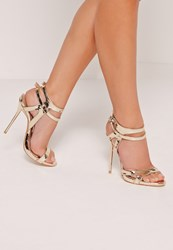 Missguided Double Ankle Strap Barley There Heeled Sandals Gold