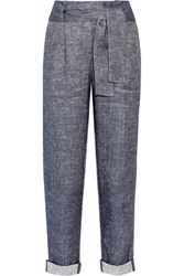 Maje Belted Linen Blend Chambray Tapered Pants Dark Denim