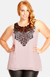 City Chic 'Mingle' Lace Applique Sleeveless Top Plus Size Baby Pink