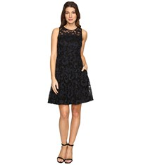 Donna Morgan Sleeveless Fit And Flare With Full Skirt Black Marine Women's Dress