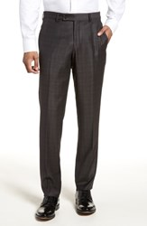 Ted Baker London Jefferson Flat Front Plaid Wool Trousers Brown