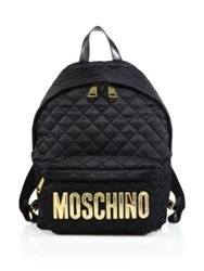 Moschino Quilted Nylon Backpack Black Multi