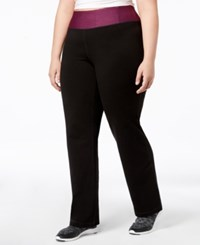 Ideology Plus Size Rapidry Open Leg Yoga Pants Vintage Wine