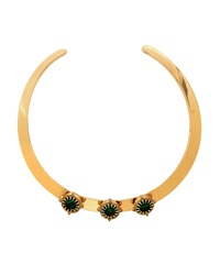 Lydell Nyc Golden Triple Station Open Collar Necklace Green Oth