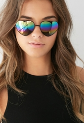 Forever 21 Mirrored Heart Shaped Sunglasses Black Rainbow