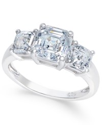 Arabella Swarovski Zirconia Three Stone Ring In 14K White Gold
