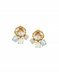 Indulgems Pearl Moonstone And Chalcedony Button Earrings