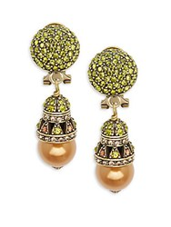 Heidi Daus Crystal And Rhinestone Ball Drop Earrings Gold