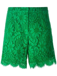 Dolce And Gabbana Floral Lace Shorts Green