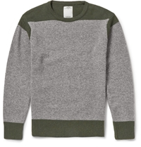 Visvim Two Tone Knitted Wool Sweater Green