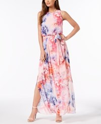 Jessica Howard Belted Floral Print Maxi Dress Pink Multi
