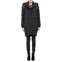 Fur Trimmed Cocoon Coat Black