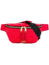 Karl Lagerfeld Quilted Studded Belt Bag Red