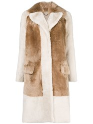 Desa 1972 Single Breasted Contrast Coat Nude And Neutrals
