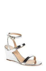 Charles David Women's Cassie Strappy Wedge Sandal Silver Leather