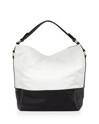 Neiman Marcus Faux Leather Colorblock Hobo Bag Black White
