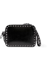Valentino The Rockstud Patent Leather Shoulder Bag Black