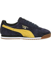 Puma Roma Low Top Suede Trainers Navy Yellow Suede
