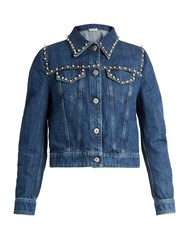 Miu Miu Pearl Embellished Cropped Denim Jacket