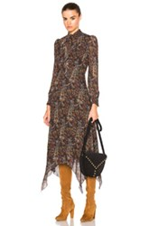 Saint Laurent Paisley Vintage Long Dress In Brown Floral Brown Floral