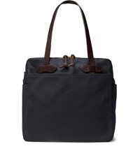Filson Leather Trimmed Cotton Twill Tote Bag Blue