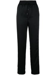 Off White Drawstring High Waist Trousers Black
