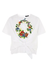 Topshop Petite Embroidered Blouse White