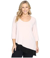 Calvin Klein Plus Size 3 4 Sleeve Double Layer Angle Top Blush Women's Long Sleeve Pullover Pink