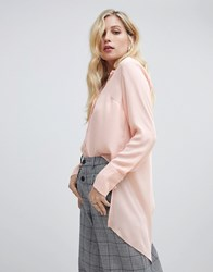 Oasis Longline Shirt With Wrap Detail In Light Pink Pale Pink