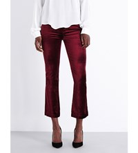Paige Denim Colette Flared High Rise Velvet Jeans Ruby Red
