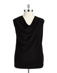 Jones New York Plus Plus Penny Cowlneck Blouse Jet Black