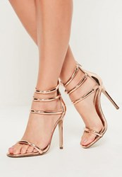 Missguided Rose Gold Multi Strap Barely There Heels