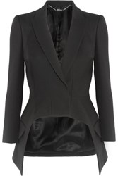 Alexander Mcqueen Asymmetric Wool And Silk Blend Crepe Blazer Black