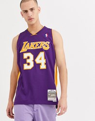 Mitchell And Ness La Lakers Shaquille O'neal Swingman Jersey In Purple