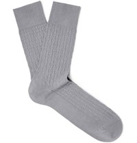 Falke Rhinoceros Textured Cotton Blend Socks Gray