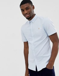 Farah Brewer Slim Fit Short Sleeve Oxford Shirt In Sky Blue