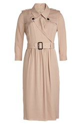 Burberry London Mulberry Silk Trench Coat Beige