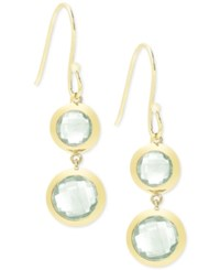 Victoria Townsend Green Quartz Double Drop Earrings 10 Ct. T.W. In 18K Gold Plated Sterling Silver Yellow Gold