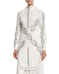 Prabal Gurung Long Two Tone Cable Knit Sweater White