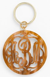 Women's Moon And Lola Personalized Monogram Key Chain Brown Tigers Eye