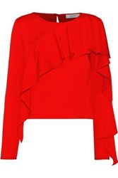 Milly Ruffled Stretch Silk Blouse Red