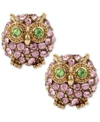 Betsey Johnson Gold Tone Pink Pave Owl Stud Earrings